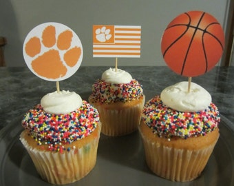 cupcake toppers, party supplies, Clemson Tigers, basketball, sports theme, tiger paw