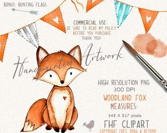 Woodland Animals Digital Clip Art | Fox Digital Clipart | Fox Digital Clip Art | Personal & Commercial Use | Use in invitations | Wall Art