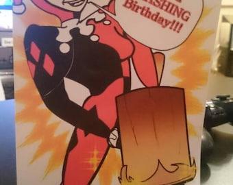 Harley Quinn blank birthday card