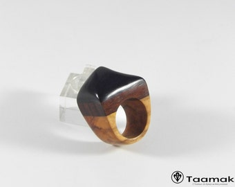 Ring of ebony, Cocobolo and olive wood ring for ring/F-H wood art precious made hand Piece unique-Taamak jewelry