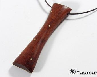 Cameroon Bubinga wood pendant necklace.