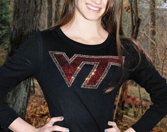 Virginia Tech   rhinestone  bling  shirt,  all sizes XS, S, M, L, XL, XXL, 1X, 2X, 3X, 4X, 5X dark red V T