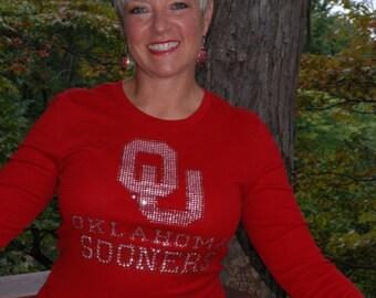 Oklahoma Sooners  red rhinestone bling shirt,  all sizes, XS,S,M,L,XXL,1X,2X,3X,4X,5X licensed