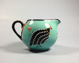 """Milk Jug """"Bolletjie"""" - Turquoise Royal African Ceramics by Dragana Jevtovic, hand painted in Cape Town, South Africa, animal, Bird, round"""