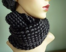 Black and Grey Infinity Scarf, Wool and Alpaca