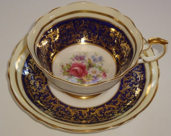Paragon Cobalt Gold and Floral Cup and Saucer ~ Pattern A2894