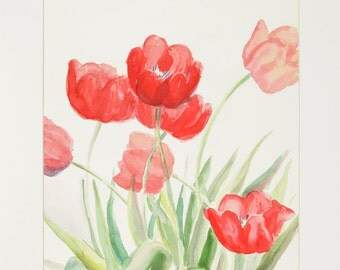 ORIGINAL painting, watercolor, signed, tulips, floral, flowers, botanical, still life, gift art, 18x24/mounted 22x28