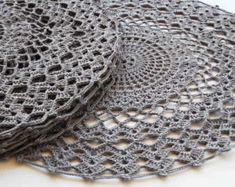 Handmade crocheted table mat kitchen placemat for home accessories handmade gray doily