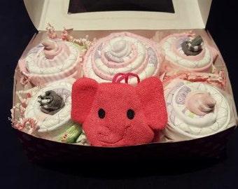 Baby Girl Cupcake Box With Pink Elephant Washcloth Gift Set