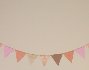 Pennant Banner - Pink & Brown
