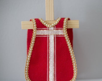 Single Red Felt Vestment with White and Gold Ribbon