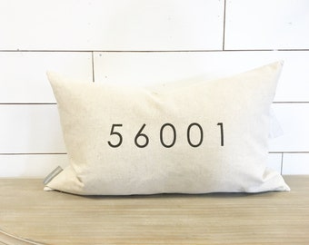 Personalized Zip Code 16 x 26 Pillow Cover // Accent Pillow / Throw Pillow / Gift / Home Decor / Zip Code Pillow / Zip Code Decor