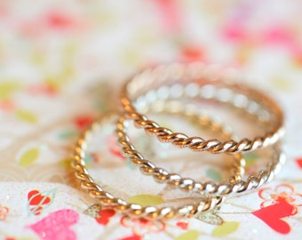Gold Twisted Rope Ring 9ct Yellow Gold/ White Gold/ Rose Gold 1.5 mm width Handmade Gift For Her