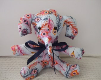 Plush Elephant, Stuffed Elephant, Toy Elephant, Peacock feathers fabric elephant, Collectable Elephant, baby shower gift, free shipping