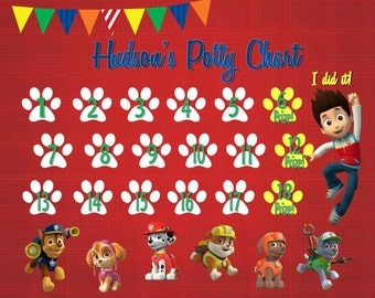 Paw Patrol Sticker Potty Chart Download - Digital PDF Files -- or Minnie, Mickey Mouse, Frozen, Paw Patrol, Inside Out, and more!