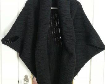 Black shrug-bolero-oversize black shrug-crochet large shrug-handmade large-extra large shrug