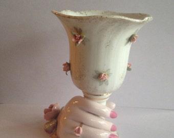 Vintage Lefton hand and vase/929/