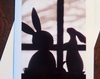 Bunny Silhouettes. Photo Greeting/Note Card. Blank Inside.
