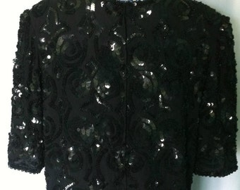 Vintage 1980's Black Sequin Blouse with Shoulder Pads