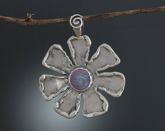 Sterling Silver and Purple Pearl Pendant - Removable Pendant - Natural Pearl - Iridescent Pearl - Silver Flower Pendant - Sherry Tinsman