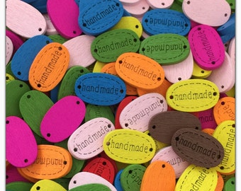 """15 or 30 """"Handmade"""" oval wood buttons random mix assorted colors novelty hand made word scrapbooking, sewing crafts wood tags 18mm 11/16"""""""