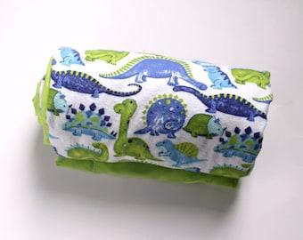 Blue/Green Dinosaur Blanket, Minky