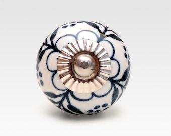 Hand painted ceramic knob, black and white, vintage