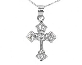 Sterling Silver Cubic Zirconia Cross Pendant