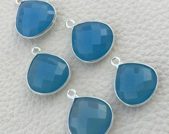 925 Sterling Silver,APATITE BLUE CHALCEDONY Faceted Heart Shape Pendent,1 Piece of 18mm approx