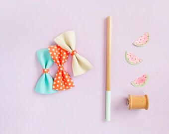 Neon Orange Bow, Baby Leather Hair Bow, Crocodile Clip/ Soft Nylon Headband Adult Bow, Little Girl Bow, Newborn Bow Retro Bow Rockabilly Bow