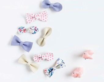 Soft Nylon Headband Hair Bow Crocodile Clip Leather Bow Spring Mix Pink Polka Dot, Cream, Lavender & Cornflower Blue Floral Baby/Adult Bow