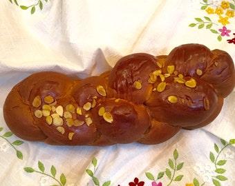 Greek Tsoureki bread, Greek Easter Bread, Challah bread loaf, vasilopita