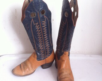Old western handmade cowboy boots, size 8D.