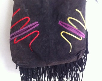 Handmade crossbody bag for woman, suede & suede fringe. Decor-embroidery. Black color, size: small