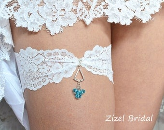 Blue Wedding Garter, Rhinestone Garter,  Lace Garte Set, Bridal Garter, Blue Bridal Garter, Blue Garter, Somethig Blue,Wedding Garter Set