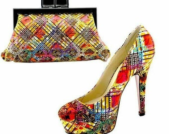 Ankara Glitz and Glam Shoes and Clutch set