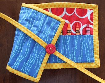 Blue Crayon Holder, Boy Crayon Roll Up, Boy Crayon Tote, Handmade Crayon Holder, Primary Colors, Red, Yellow, Blue, Quilted Crayon Roll Up