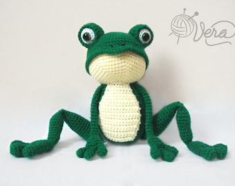 Crochet frog, cute crochet frog, green frog, crochet frog toy, frog doll, amigurumi frog, amigurumi animal toy
