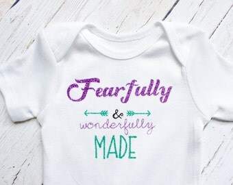 Fearfully and Wonderfully made onesie, Christian onesie, baby girl clothes, Christian baby, trendy baby clothes, Christian shower gift