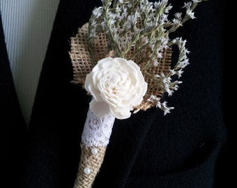 Limonium, Cream Sola Rose, Burlap, Lace and Pearl Boutonniere from my Wildwood Collection