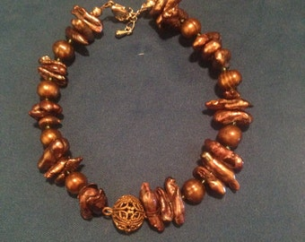 Brown Shell and Freshwater Pearl Bracelet- Large