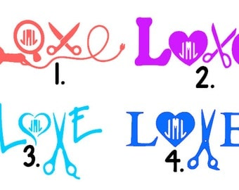 Cosmetologist LOVE Decals- With or Without Monogram- Hair stylist, scissors, cosmetology, love. GLITTER available.