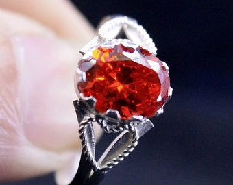 925 Silver New design Of Red Zircon CZ with Heart on Both Sides With wire
