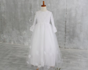 Long Sleeve Flower Girl Dress White Lace Tulle Girls Size 5 for First Holy Communion, Junior Bridesmaid, Winter Wedding, Special Occasion