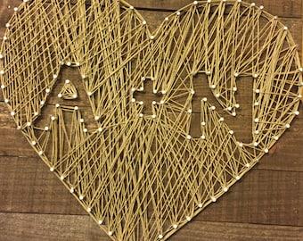 String heart initials