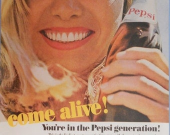 "1964 Pepsi ad.  ""You're the Pepsi Generation"" ad.  Vintage Pepsi Cola ad."