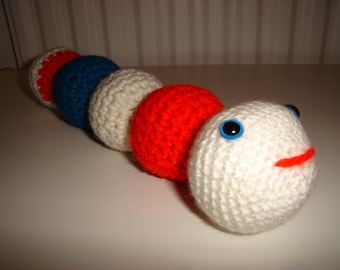 Amigurumi Worm, Crochet handmade soft toy, Crochet Worm, Toy Worm