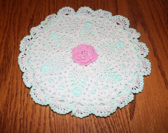 Crochet Pot Holder - Green and Pink Rose with lace
