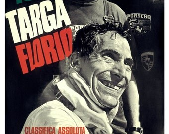 Vintage 1968 Porsche Targa Florio Motor Racing Poster Print
