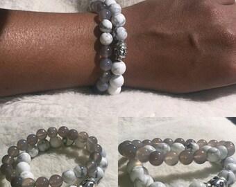 Women 10/8mm Bead White Howlite Silver Buddha Charm w/Dyed Gray Jade Bracelet Set Healing Balancing Gemstones Men's Semi Precious